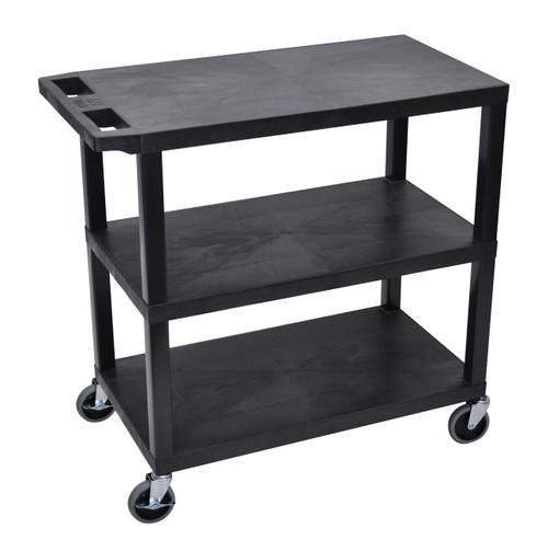 Luxor Black EC222-B 18x32 Cart 3 Flat Shelves