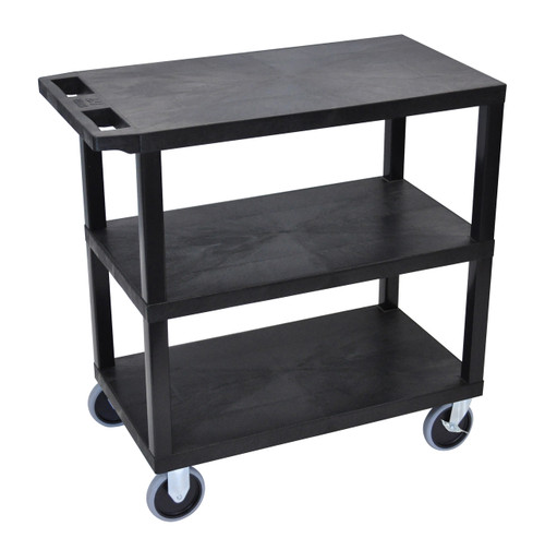 Luxor Black EC222HD-B 18x32 Cart with 3 Flat Shelves