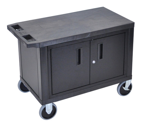 Luxor Black EC25CHD-B 18x32 Cart W/ 2 Shelves and Cabinet & Heavy Duty Casters