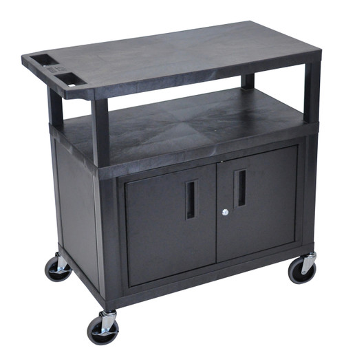 Luxor Black EC34C-B 18x32 Cart W/ 3 Shelves and Cabinet