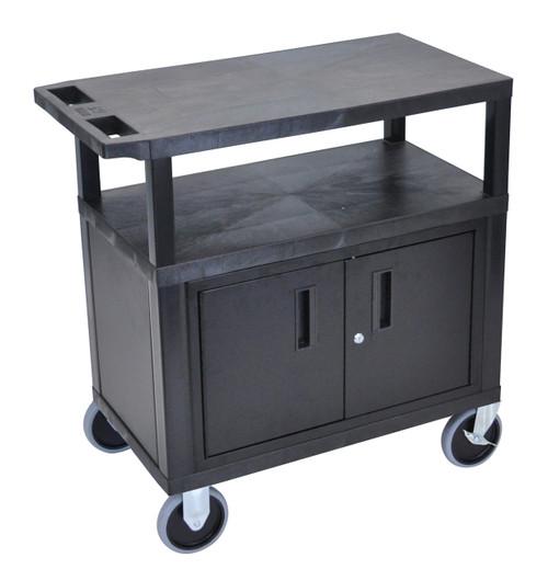 Luxor Black EC34CHD-B 18x32 Cart W/ 3 Shelves, Cabinet & Heavy Duty Casters