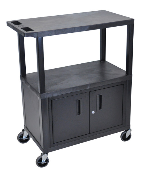 Luxor Black EC38C-B 18x32 Cart W/ 3 Shelves and Cabinet