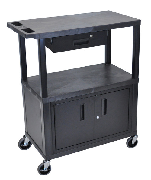 Luxor Black EC38CD-B 18x32 Cart W/ 3 Shelves, Cabinet & Drawer
