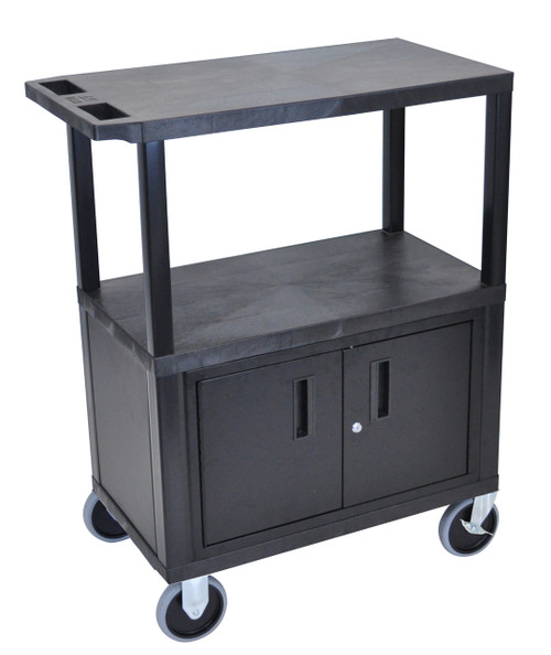 Luxor Black EC38CHD-B 18x32 Cart W/ 3 Shelves, Cabinet & Heavy Duty Casters