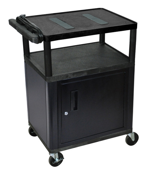 Luxor Endura Black A/V Cart W/ 3 Shelves & Cabinet