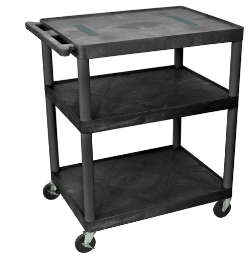 Luxor Black Endura Cart W/ 3 Shelves
