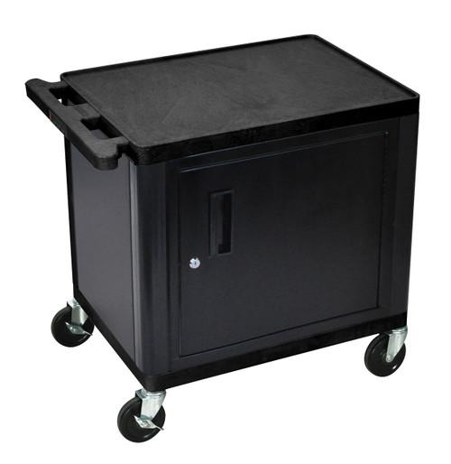 "Luxor Black 2 Shelf A/V Cart W/ Cabinet 26"" H"