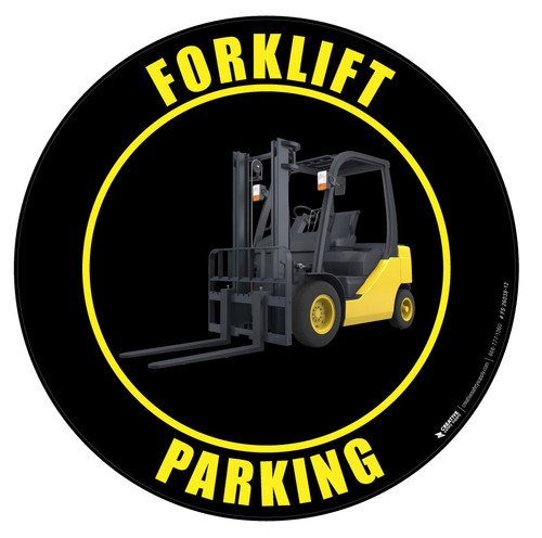 Forklift Parking Floor Sign - Black Industrial grade vinyl
