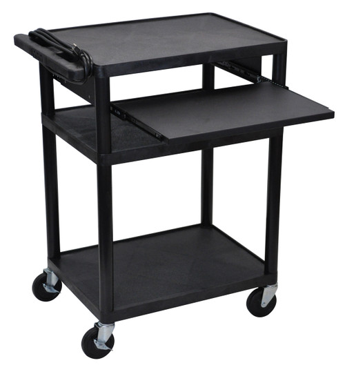 "Luxor Endura Black 3 Shelf Presentation Cart 34"" H with Pull Out Shelf"