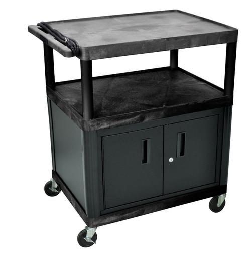 "Luxor Endura Black 3 Shelf Presentation Cart W/ Cabinet 40 1/4"" H"