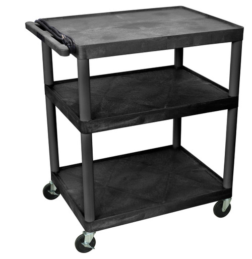 "Luxor Endura Black 3 Shelf Presentation Cart 40 1/4""H"