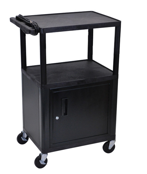 "Luxor Endura Black 3 Shelf  Presentation Cart W Cabinet 42""H"