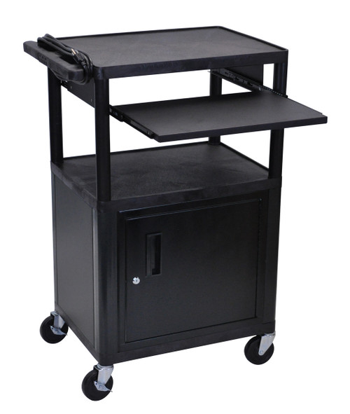 Luxor Endura Black 3 Shelf Presentation Cart W Cabinet & Pullout Shelf