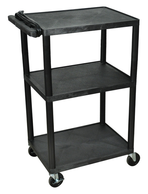 "Luxor Endura Black 3 Shelf Presentation Cart 42""H"
