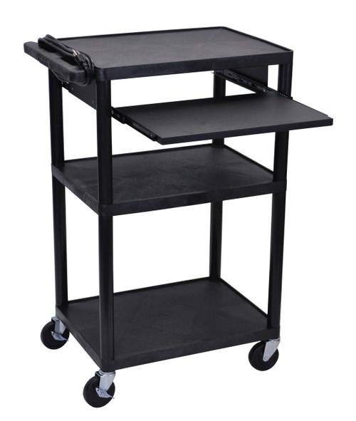 Luxor Black Endura 3 Shelf Presentation Cart with Pull Out Shelf