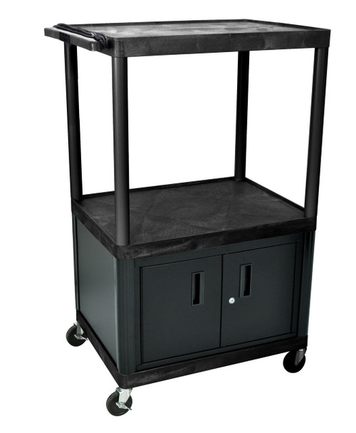 "Luxor Black Endura 3 Shelf Presentation Cart W/ Cabinet 54 1/4""H"