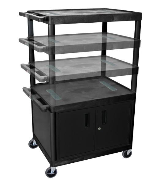 Luxor Black Endura Presentation Cart Multi Height W/ Cabinet