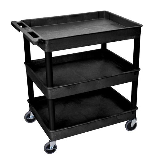 3 Shelf Large Black Tub Cart