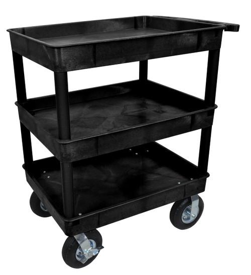 Luxor Black 24x32 3 Tub Cart W/ P8 Casters