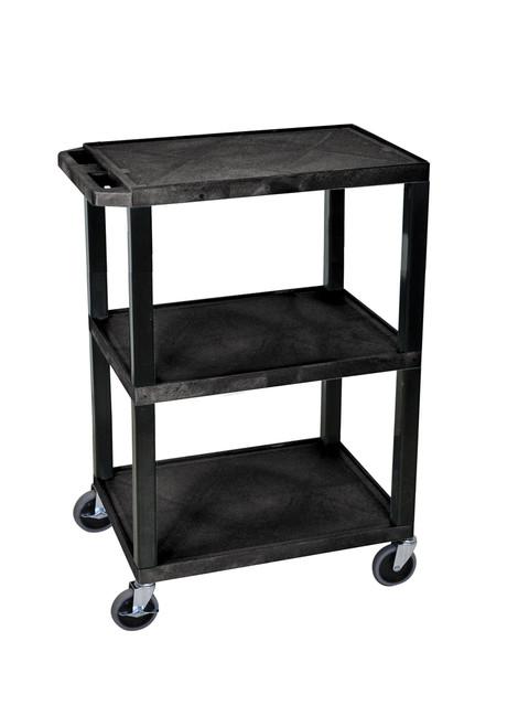 Luxor Black 3 Shelf Specialty Utility Cart