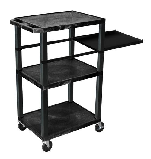 Luxor Tuffy Black 3 Shelf W/ Black Legs & Side Pull-out Shelf & Electric