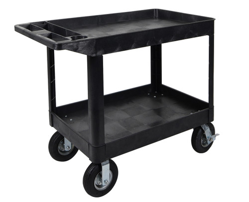 Luxor XLC11P8-B two shelf heavy-duty utility cart w/ P8 casters