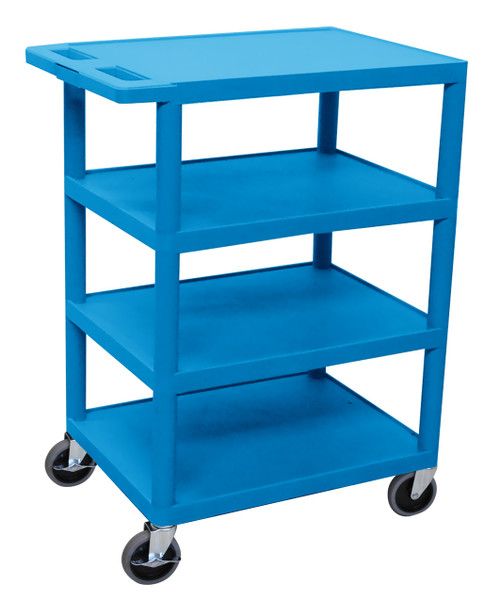 Luxor Four Flat Shelf Blue Utility Cart