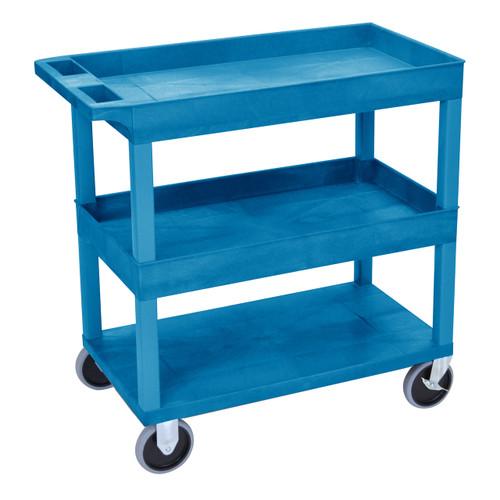 Luxor HD High Capacity 2 Tub and 1 Flat Shelf Cart in Blue