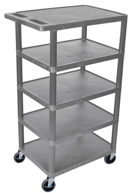 Luxor Five Flat Shelf Gray Utility Cart