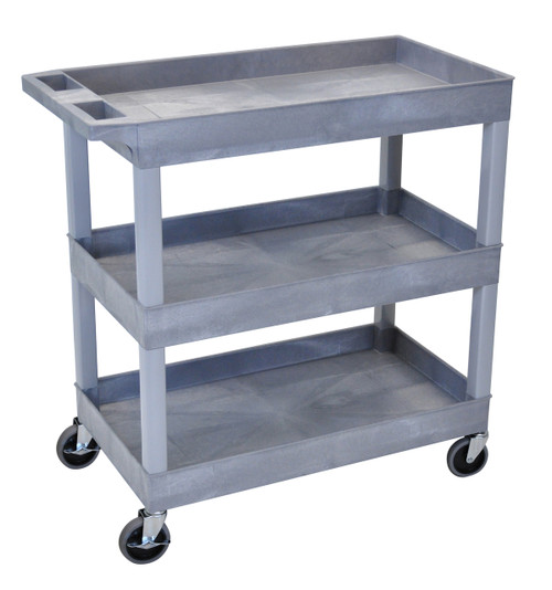 Luxor High Capacity 3 Tub Shelves Cart in Gray