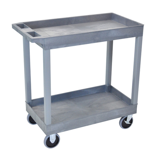 Luxor HD High Capacity 2 Tub Shelves Cart in Gray