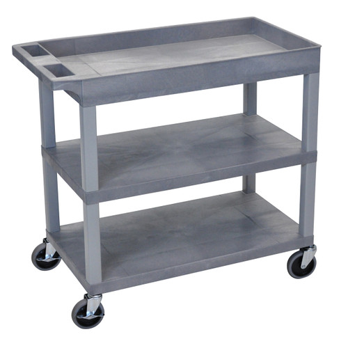 Luxor High Capacity 2 Flat and 1 Tub Shelf Cart in Gray