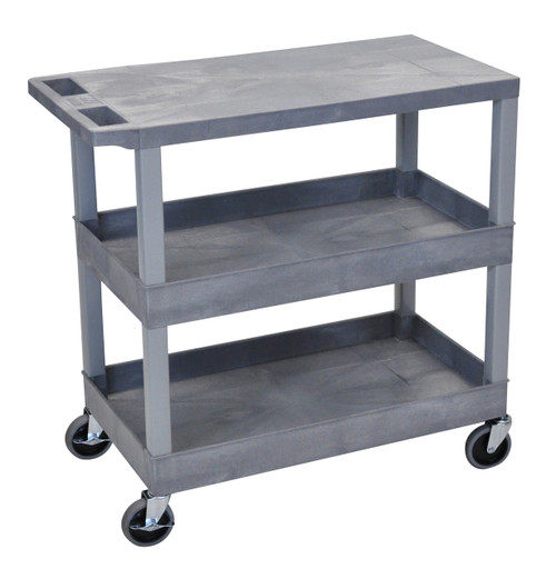 Luxor Gray EC211 18x32 Cart with 2 Tub Shelves and 1 Flat Shelf