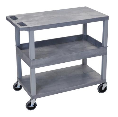Luxor Gray EC212-G 18x32 Cart 2 Flat/1 Tub Shelves