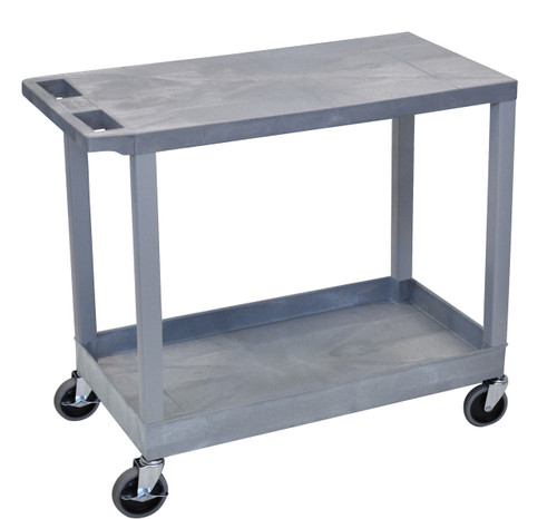 Luxor Gray EC21 18x32 Cart with 1 Tub Shelf with 1 Flat Shelf