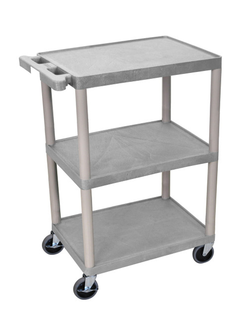 Luxor 3 Shelf Utility Cart Gray