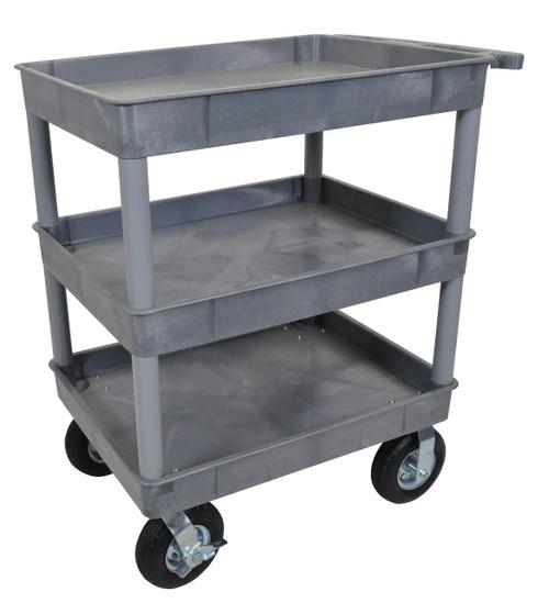 Luxor Gray 24x32 3 Tub Cart W/ P8 Casters