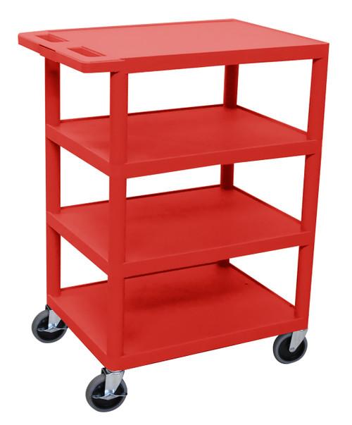 Luxor Four Flat Shelf Red Utility Cart