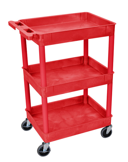 Luxor 3 Shelf Tub Cart Red