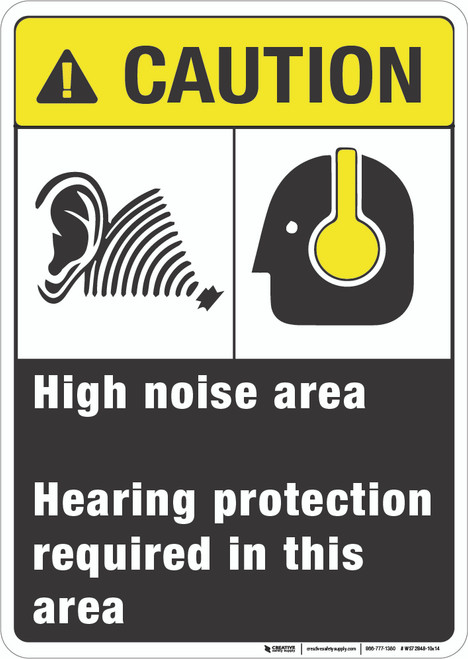 High Noise Area - Hearing Protection Required - Wall Sign