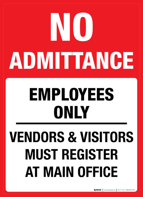 No Admittance: Employees Only - Wall Sign