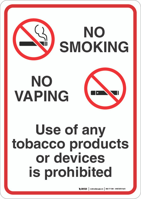 No Smoking / No Vaping - Wall Sign