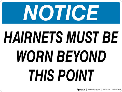 Notice: Hairnets Must Be Worn Beyond This Point - Floor Sign