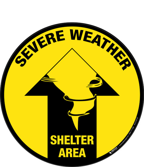 Severe Weather Shelter Area (Arrow) -  Floor Sign