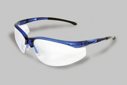 Radnor Select Series Safety Glasses With Blue Frame And Clear Anti-Scratch Lens
