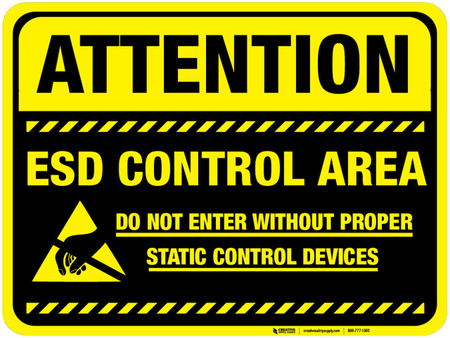 Floor Sign Attention Esd Control Area Black Background