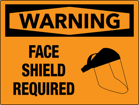 Warning Face Shield Required Wall Sign