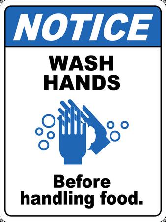 Notice Wash Hands Before Handling Foods Floor Sign Floo