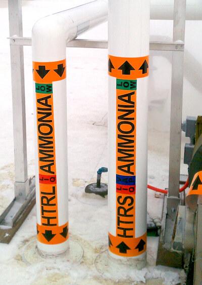 Ammonia Pipe Labels