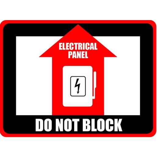 Do Not Block electrical panel - floor sign